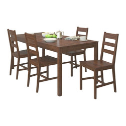 Sonax - Sonax CorLiving 5 Piece Dining Set in Dapper Brown - Sonax - Dining Sets - DTC874T - Add comfort to your kitchen with this practical shaker styled table and 4 chair set from CorLiving. The solid wood construction of the bed is packaged in one convenient box and assembles in minutes. Featured in Dapper Brown stain this table and chair set accents any decor setting while offering great value.