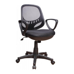 Chintaly Imports - Black Mesh Seat & Back, Adjustable Office Chair - Pneumatic gas lift adjustable height office chair, 100% Polypropylene, CA fire retardant foam, Ideal piece for both office and home office use