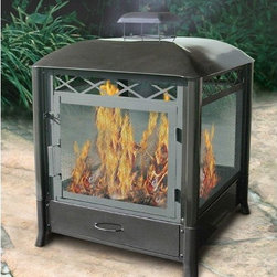"Landmann - Aspen Pagoda Fireplace - There is no better way to keep warm than with this outdoor fireplace. This large 25'' square feet fireplace with easy access hinged door is a comfortable and convenient product to help you keep you and your guests warm in the outdoors. The Aspen fireplace is very convenient as it has a removable ash drawer for more fire between cleaning. Keep warm with this outdoor black color fireplace! Features: -Strong tubular legs with angled feet for stability.-Large fire bowl can be seen from all sides.-Hinged door.-Includes fire bowl, door, ash drawer.-Sturdy all-steel construction.-Please Note: Item should be placed on a brick, stone or concrete surface to prevent fire hazards.-Distressed: No.-Finish: Black.-Gloss Finish: No.-Material: Steel.-Hardware Material: Steel.-Tabletop Fireplace: No.-Fuel Type: Wood or charcoal.-Plug In: No.-Fire Bowl Filler Accommodated: Can be used with charcoal for grilling.-Fire Bowl Filler Included: No.-Folding: No.-Heat Resistant Coating: Yes.-UV Protected: No.-Rust Resistant: No.-Fade Resistant: No.-Suitable For Use On Wooden Surface: No.-Log Grate Included: No.-Spark Screen Included: Yes -Spark Screen Material: Steel..-Snuffer Included: No.-Fire Poker Included: No.-Safety Ring: No.-Built in Cooking Area: Yes -Cooking Grate Included: Yes.-Adjustable Cooking Grate: No..-Handles: No.-Portable: No.-Cover Included: No.-Swatch Available: No.-Commercial Use: No.-Recycled Content: No.-Eco-Friendly: No.Dimensions: -Overall Product Weight: 54 lbs.-Overall Height - Top to Bottom: 32.5"".-Overall Width - Side to Side: 24.5"".-Overall Depth - Front to Back: 25"".-Fire Bowl Height: 4"".-Fire Bowl Width: 21.25"".-Fire Bowl Depth: 21.5"".-Spark Screen: -Spark Screen Height - Top to Bottom: 14""..Assembly: -Assembly Required.-Assembly Required: Yes.-Tools Needed: Phillips screwdriver and adjustable wrench.-Additional Parts Required: No.Warranty: -Product Warranty: 90 Days."