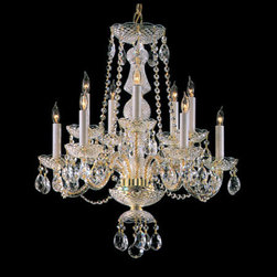 Crystorama Lighting Group - Traditional Crystal Swarovski Strass Crystal Polished Brass Ten-Light Chandelier - Traditional crystal chandeliers are classic timeless and elegant. Crystorama?s opulent glass arm chandeliers are nothing short of spectacular. This collection is offered in a variety of crystal grades to fit any budget. For a touch of class order this collection in Gold for traditionalists or in Chrome to match your contemporary or transitional decor.  -Primary Material: Steel  -Crystal: Swarovski Strass  -Chain or Rod Length: 36inches  -Wire Length: 72inches Crystorama Lighting Group - 5050-PB-CL-S