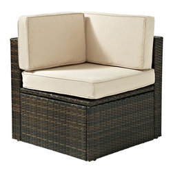 Crosley - Outdoor Wicker Corner Chair - Lounge around on our elegantly designed all-weather wicker chair. Finely crafted with intricately woven wicker over durable aluminum frames, this timeless piece provides lasting comfort and style. Let your worries fade away as you doze off in our UV/fade resistant cushions.