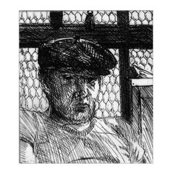 Jack Beal, Self-Portrait with Cap, Line Etching - Artist:  Jack Beal, American (1931 - 2013)