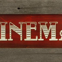 MyBarnwoodFrames - Cinema Rustic Primitive Media Room Barnwood Wall Decor Sign, 22x10 - Cinema Wall decor print in rustic reclaimed barnwood frame. This Lauren Rader print has adds a touch of the nostalgic past to your modern media or cinema room. Perfect for the movie-house-themed family room or as a gift for anyone who loves Hollywood films. Frame is salvaged wood and knots and nailholes add to the character. Color and texture will vary.