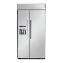 Thermador - 42 inch Built-In Side-by-Side T42BD810NS - We put convenience first when we designed our side-by-side refrigerators. With fully-adjustable glass shelves and easy electronic control, all of our side-by-sides can be ordered with an optional ice and water dispenser.