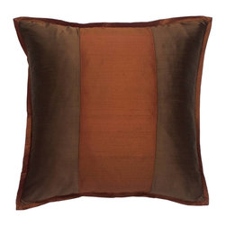 """Mystic Valley - Mystic Valley Traders Profiles Silk Bronze - Euro Sham - The Profiles Silk Bronze Euro sham is fashioned from the Bronze fabric on each side, with a Russet center panel on front, and finished with a 1/2"""" Russet mitred flange; sold flat (without fills); 26""""x26""""."""