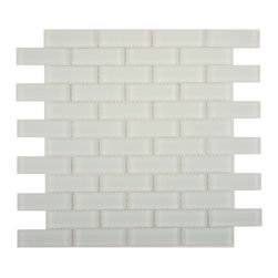 "Euro Glass - Ice Mist Matte  1"" x 3"" Green Crystile Solids Frosted Glass - Sheet size:  11 5/8"" x 11 5/8""     Tile Size:  7/8"" x 2 7/8""     Tiles per sheet:  48     Tile thickness:  1/4""      Grout Joints:  1/8""     Sheet Mount:  Mesh Backed      Sold by the sheet      -  Our Crystile Series offers a wide range of hues to suit your mood and your style! The vibrancy and depth of our crisp smooth glass results in a unique and dramatic effect for use in both residential and commercial installations.  The Crystile Series is virtually limitless in its range of applications and is suitable for the following walls backsplashes and any area just waiting to be transformed by light and color! Our sheets of mesh-mounted glass can be used to produce and endless variety of field patterns borders and medallions. This Series is ideal for use alone or as an exquisite complement to ceramic and natural stone materials. Let creativity be your guide. Crystile tiles are are easy to clean and maintain. Our tiles will never discolor and will continue to provide a smooth and luxurious appearance for many years to come."