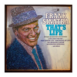 """Glittered Frank Sinatra That's Life Album - Glittered record album. Album is framed in a black 12x12"""" square frame with front and back cover and clips holding the record in place on the back. Album covers are original vintage covers."""