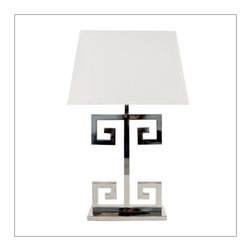 Nickel Plated Greek Key Lamp - Nickel Plated Greek Key Lamp Base with Rectangular Off white shade. Single Socket uses 60 w bulb. Clear cord.