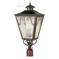 Maxim Lighting - Cordoba Forged Iron Traditional Outdoor Post Lantern Light - Cordoba is a traditional, early American style collection from Maxim Lighting International in Oil Rubbed Bronze finish with Seedy glass.