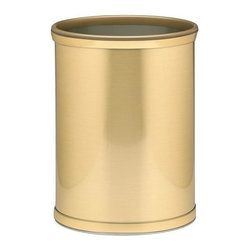 Kraftware - Mylar Wastebasket in Brushed Brass - 0.75 in. band in brushed brass with gold bumper. Made in USA. 10 in. Dia. x 12 in. H (1.5 lbs.)Kraftware's Mylars bring the look of metal at vinyl prices. Great value, great looks and great entertaining sum up the Mylar collection.