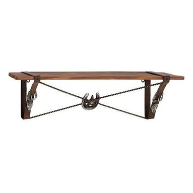 Benzara - Cowboy Styled Wooden Metal Wall Shelf - Cowboy Styled Wooden Metal Wall Shelf. Redo your home with this tasteful cowboy themed wooden metal shelf. Some assembly may be required.