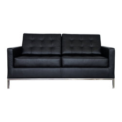 IFN Modern - Florence Knoll Style Loveseat-Black - 100% Italian Leather - Florence Knoll, an acclaimed architect and designer, first conceived this beautiful chair in 1956. Knoll's philosophy for furniture design comes from the value that she placed on practicality and aesthetic beauty. The pieces resulting from her philosophical vision are considered to be minimalistically beautiful without compromising on durability and comfort. Knoll was also known to study and collaborate with renowned architect and designer Mies Van Der Rohe, this collaboration also lended a hand in her highly sought after artistic vision. The classic trio was designed by Knoll using a durable stainless steel frame with minimal materials. The chair features beautiful cubic cushions complimented with compressed buttons in a functional layout which provides both style and comfort to the thin, minimalist supporting arms. The Knoll Sofa, Loveseat, and Chair are becoming more and more highly desired as their minimal yet practical design can adapt perfectly into today's modern home or space.