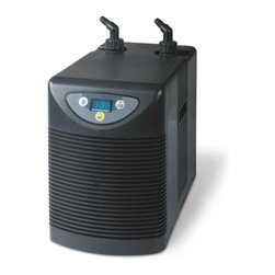 "Aqua Euro - 1/10 HP Aquarium Chiller - Digital LCD Display. High BTU rating (heat removal). Titanium heat exchanger. Quiet operation-rubber mounts reduce vibration. Powerful compressor. Uses DuPont R134a ozone friendly Freon. Includes fittings and instructions for easy set up. 1/2"" Inlet/Outlet fittings. 9.8 in. W x 16.5 in. L x 19 in. HTitanium Chillers for use with Freshwater & Saltwater Aquariums. High quality, durable, reliable and ultra compact design."