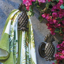 Frontgate - Pineapple Hook - Use for towels, swimsuits and goggles. Crafted for outdoor use. Arrives with installation hardware and aluminum bracket. As handsome as they are functional, our unique Pineapple Hooks are the perfect place to hang towels, swimsuits and goggles after a swim. Made from sturdy cast aluminum, each has a rust-resistant powdercoated finish that keeps them looking fresh season after season. . . . Made in the USA.