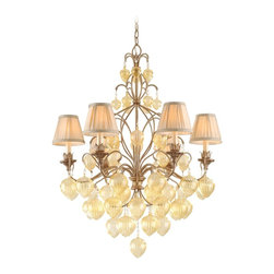 Corbett Lighting - Corbett Lighting Venetian Traditional Chandelier X-60-77 - Beautiful champagne glass accents add a whimsical look to this Corbett Lighting chandelier. From the Venetian Collection, it features candelabra style lights complete with tapered traditional style pinch pleat shades. The body comes in an eye-catching Rialto finish over sturdy hand wrought iron construction, ensuring it will please and delight for years to come.