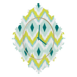 DENY Designs - Andrea Victoria Caicos Zig Zag Baroque Clock - it's about time to check out the baroque clock collection! With a sleek mix of baltic birch ply trim that's unique to each piece and a glossy aluminum face, this baroque clock is gonna turn up the fancy on that plain Jane wall of yours.