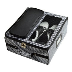 Picnic at Ascot - Golf Trunk Organizer, Houndstooth by Picnic at Ascot - Our Golf Trunk Organizer in Houndstooth by Picnic at Ascot provides storage for shoes, balls, spikes, gloves, tees, and towel. With a ventilation area over the shoe compartment the organizer also acts like a golf locker in the car.