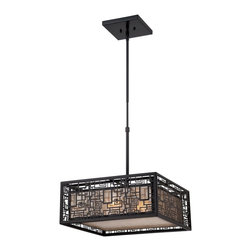 Quoizel - Quoizel KNR2817K Kenner Pendant Light - Handsome and a bit mysterious, the Kenner Collection has an intricate pattern on the outer shade that is enhanced by the Mystic Black finish. An inner shade softens the masculine look with a warm, diffused glow.