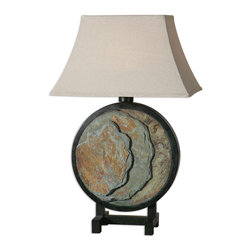 Uttermost - Slate Round Lamp - The base is made of real hand carved slate accented with matte black details. Due to the natural material being used, each piece will vary. The rectangle bell shade is oatmeal linen, weather resistant fabric.