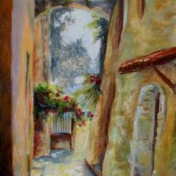 """Path To The Sea"" (Original) By Chris Brandley - A Quaint Village In Italy On The Mediterranean Sea."