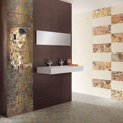 Gustav Klimt's 'The Kiss' Tiles - Spanish manufacturer Ceramica Latina brought new meaning to word Colorful with new products inspired by both nature and famous artists. Now you can have Gustav Klimt's Kiss in your bathroom.