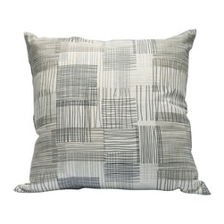"Area Inc. - Weave Large Decorative Pillow 22X22"" - Area Inc. - Add a simple, rustic print to your couch or bed with the 22-by-22 inch Weave Decorative Pillow. This pure linen pillow features an irregular weave pattern in soft beige, white and gray hues. Pair it with similar neutral colors for a cohesive feel. Includes a feather down insert."