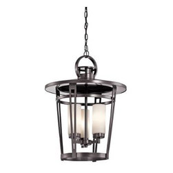 """Kichler - Kichler 49458AZ Belmez 3 Light Outdoor Pendant in Architectural Bronze 49458AZ - The seaside cottage style of this 3 light outdoor pendant from the Belmez collection offers an inviting entrance to your home. The strong yet gentle curves of the Architectural Bronze covered framework is softened just a little further by the Satin etched cased opal glass.Ambient light casts soft generalized illumination over a wide area 72"""" Chain included with this model - larger and smaller options available upon checkout Bulb(s) not included Ultra secure mounting assemblyBulb Type: Incandescent Bulbs Included: No Chain Length: 72 Collection: Belmez Country of Origin: China Energy Efficient: No Finish: Architectural Bronze Height: 23-3 4 Light Direction: Ambient Lighting Number of Lights: 3 Shade Color: Cream Shade Material: Glass Shade Shape: Cylinder Socket Type: Candelabra Style: Transitional Voltage: 120 Wattage: 60 Weight: 16.8 Width: 18-1 2"""
