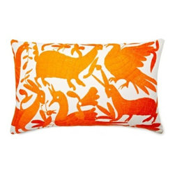 5 Surry Lane - Mexican Hand Embroidered Otomi Orange Pillow - Warm up your sofa or bedding with a colorful throw pillow. The rich and storied pattern originates with the Otomi Indians of Mexico, and is still hand-embroidered by them today. Pick from two sizes and six vibrant colors to complement your well-traveled aesthetic.