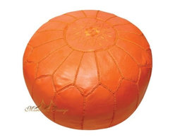 Moroccan Leather Pouf, Orange - Moroccan poufs seem to be all the craze as of late, and I can see why: They're adorable. I like this leather, orange pouf for the living room, a bedroom or even a nursery.