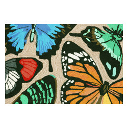"Trans-Ocean Inc - Butterfly Dance Multi 24"" x 36"" Indoor/Outdoor Rug - Richly blended colors add vitality and sophistication to playful novelty designs. Lightweight loosely tufted Indoor Outdoor rugs made of synthetic materials in China and UV stabilized to resist fading. These whimsical rugs are sure to liven up any indoor or outdoor space, and their easy care and durability make them ideal for kitchens, bathrooms, and porches; Primary color: Neutral;"