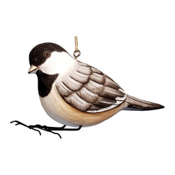 Songbird Essentials - Chickadee Birdhouse - Songbird Essentials adds color and whimsy to any garden with our beautifully detailed wooden birdhouses that come ready to hang under the canopy of your trees. Hand-carved from albesia wood, a renewable resource, each birdhouse is hand painted with non-toxic paints and coated with polyurethane to protect them from the elements. By using all natural and nontoxic components Songbird Essentials has created a safe environment complete with clean-out for our feathered friends.