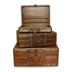 Interlude Home - Interlude Home Amir Travel Trunks - These Interlude Home Travel Trunks  are crafted from Wood and Metal and finished in Chestnut and Antique Silver.  Overall sizes are: 16 in. W  x  12 in. D x 7 in. H.  14 in. W  x  10 in. D x  5 in. H.