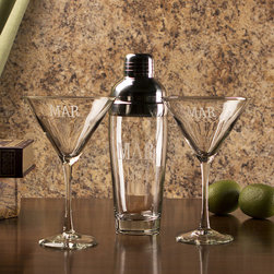 Frontgate - 3-pc. Martini Set with Shaker and Martini Glasses - Handcrafted with lead-free crystal; shaker cap is made of stainless steel. Choose from five monogramming styles. Hand wash recommended. Please note, personalized items are nonreturnable. Shake and serve martinis in style with our Monogrammed 3-piece Martini Set. Matching monograms of one or three letters on each piece accent the handsome, handblown crystal glassware. Makes an attractive gift option or a classy way to complete your own serving set. . . . . .