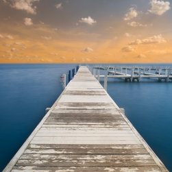 Calm Artwork - Limited Edition 1 of 8 in this size. Gallery wrapped canvas around 1.5 inch wooden bars.   Calm is part of a portfolio of 'endless horizons' in which the feeling of infinity sets the tone. The leading lines of the pier draw a viewer into the  artwork and towards the horizon, and into the calm.