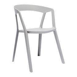 Design Lab MN - Milan Polypropylene Platinum Modern Stackable Arm Chair (Set of 4) - Brand new original design polypropylene modern stackable side chair. Add a touch of unique modern with this sleek side chair. Produced in durable polypropylene, this chair comes in white, platinum or almond colors.