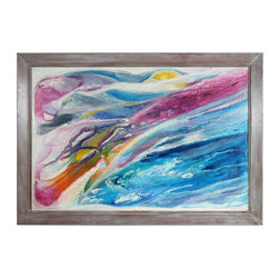 Lost Art Salon - Original 1972 Abstracted Oil Landscape - Bold strokes of vivid color make this work a wonder to behold. An original oil on canvas, set in a restored midcentury frame, it makes an exciting addition to your art collection.