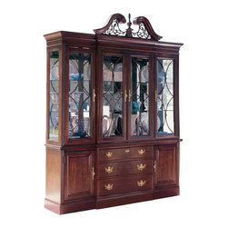 Kincaid - Kincaid Carriage House Solid Wood Breakfront China Cabinet - Breakfront China Deck: Four glass doors with wood grilles, six adjustable shelves, curio ends, mirror back, canister light with touch control.