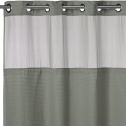 """Hookless - Hookless Waffle 71-Inch x 74-Inch Fabric Shower Curtain and Liner Set in Sage - This innovative shower curtain and liner offer no hassles thanks to their """"split ring"""" hookless design that lets you hang them in less than 10 seconds."""