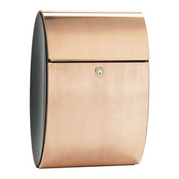 """Allux Ellipse Mailboxes - """"The modern design of the Allux 3000 Mailbox with its' elliptical shape provides unsurpassed curb appeal and is """"the"""" finishing touch to any home or business. The mailbox radiates style with a beautiful copper exterior combined with durable steel powder-coated in bold black for a contrasted look that will be admired for years. These mailboxes are easily installed by mounting on a wall or a stand and are sure to compliment your décor.""""  Available for $708.25 with free shipping from http://www.mailboxixchange.com"""