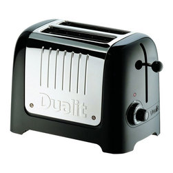 Dualit - Dualit 25375 2 Slice Lite Series Commercial Toaster-Black - 25375 - Shop for Toasters from Hayneedle.com! The Dualit 25375 Lite Series Commercial 2 Slice Toaster is a combination of impressive performance and high style. An array of features including Dualit quality a commercial rating and sleek design make this toaster one of the best in its class. This toaster features a classic black Soft Touch outer frame surrounding the stainless steel center. Each of the two slots is extra wide and automatically adjusts to accommodate bagels buns or muffins. The handy high lift mechanism makes removing small items easier. Features a Neon light that glows during the toasting process or flashes when toasting buns. From its many commercial-quality functions to stylish design this toaster will satisfy all who use it. Additional Information: Measures 10.6L x 8W x 6.7H inches About DualitFrom the first flip-sided toaster in 1946 through the steady growth of a commercial product range in the 1950s and 60s to its explosion onto the consumer market in the late 70s Dualit has remained true to its founder Max Gort-Barten s original vision. A company with a clear set of values Dualit remains focused on high quality well-engineered products a hard-won reputation amongst professional chefs and a loyal and family-orientated workforce. Dualit continues to grow by remaining true to the same spirit of invention entrepreneurship and gut instinct and by identifying what its customers need by fulfilling that need and by exceeding their expectations.
