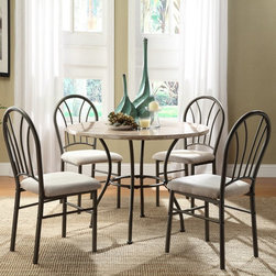 Homelegance - Homelegance Shawnee 5-Piece Faux Marble Dining Table Set - Graphite Multicolor - - Shop for Dining Tables from Hayneedle.com! A faux marble table and four comfortable chairs make this Homelegance Shawnee 5-Piece Faux Marble Dining Table Set - Graphite a stylish upgrade for your dining room. The set comes complete with a bistro table and four chairs all constructed of sturdy metal. The table has a round faux marble top and curvy base the four chairs have arched backs and cushioned seats upholstered in beige fabric.Dimensions:Table: 40 diam. x 29.5H in.Chairs: 17W x 21.5D x 37.5H in.About Homelegance Inc.Homelegance takes pride in offering only the highest quality home furnishings that incorporate innovative design at the best value. From dining sets to mirrors sofas and accessories Homelegance strives to provide customers with a wide breadth and depth of selection as well as the most complete and satisfying service available for their category. Homelegance distribution centers are conveniently located throughout the United States and Canada.