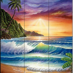 The Tile Mural Store (USA) - Tile Mural - Colors Of Paradise - Jw - Kitchen Backsplash Ideas - This beautiful artwork by Jeff Wilkie has been digitally reproduced for tiles and depicts an ocean scene at sunrise with palm trees  Beach scene tile murals are great as part of your kitchen backsplash tile project or your tub and shower surround bathroom tile project. Waterview images on tiles such as tiles with beach scenes and sunset scenes on tiles.  Tropical tile scenes add a unique element to your tiling project and are a great kitchen backsplash  or bathroom idea. Use one or two of our beach scene tile murals for a wall tile project in any room in your home for your wall tile project.