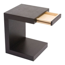 Moe's Home Collection - Moe's Home Zio Side Table in Black Oak - Clean lines, simple design. End table with handless drawer