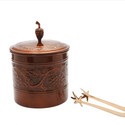 "Old Dutch International - Antique Embossed ""Heritage"" Ice Bucket w/Brass Tongs, 3 Qt. - This embossed ice bucket lets you chill with charm at your next gathering. Its grapevine design and antique copper finish make a classic statement and help you to host with aplomb."