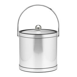 Kraftware - Mylar Ice Bucket w Bands in Brushed Chrome - Bale handle. Metal cover. 3 quart ice bucket. Made in USA. 9 in. Dia. x 9 in. H (3 lbs.)Kraftware's Mylars bring the look of Metal at Vinyl prices. Great value, Great looks, and Great Entertaining sum up the Mylar Collection.