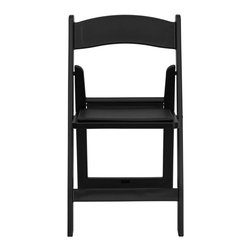 Flash Furniture - Hercules Series 1000 lb. Capacity Black Resin Folding Chair with Black Vinyl Pad - This Hercules Series Folding Chair features a 1000 lb. weight capacity so that you can be assured that it will accommodate any function. From indoor or outdoor weddings to other upscale events, this resin folding chair will never let you down. Featuring a padded vinyl seat, our black folding chair will provide an excellent solution to all your event planning needs.