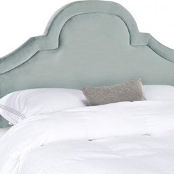 Safavieh - Kerstin Arched Queen Headboard - Wedgwood Blue - Romantic and refined, the beautifully arched Kerstin queen headboard adds architectural interest to any bedroom in need of a dramatic focal point. Luxuriously high for comfortable TV viewing and reading, this headboard is richly upholstered in Wedgwood blue velvet with extra padding emphasizing a lavish border. Attaches to any standard size metal frame bed.