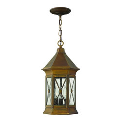 Hinkley Lighting - 2292SN Brighton Outdoor Hanging Lantern, Sienna, Clear Seedy Glass - Traditional Outdoor Hanging Lantern in Sienna with Clear Seedy glass from the Brighton Collection by Hinkley Lighting.