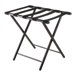 """Winsome Wood - Winsome Wood Tavin Luggage Rack w/ Folding Straight Leg - Let Tavin luggage rack helps you get ready for your trip. Folds for easy storage and opens up to 22.68""""W x 16.18""""D x 21.12""""H. Made from Metal with Antique Bronze finish. Black nylon strap. Luggage Rack (1)"""