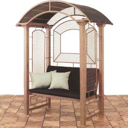 "Hideaway Bench Gazebo - Perfectly suited for the pool, patio or garden this elegant mini gazebo invites you to lounge in your own private alcove. It is the perfect combination of design strength and charm. Constructed of galvanized steel with a powder-coat finish this structure boasts 3"" think walled square tubing to maximize strength. Available options include a Sunbrella black canvas top, seat cushion and back cushion, all covered by the sunbrella warranty."